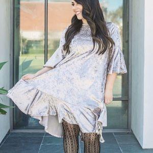LuLaRoe Moreen crushed velvet high low hem dress